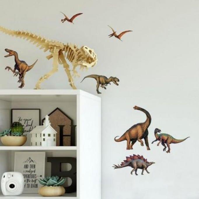 Αυτοκόλλητα τοίχου δεινόσαυροι καφέ