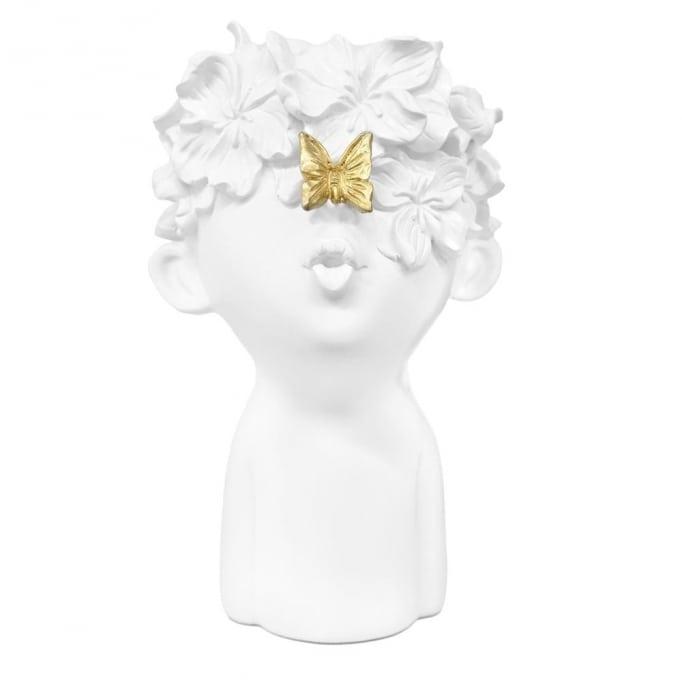 Κασπώ Πρόσωπο Παιδάκι Λουλούδια-Πεταλούδα Λευκό