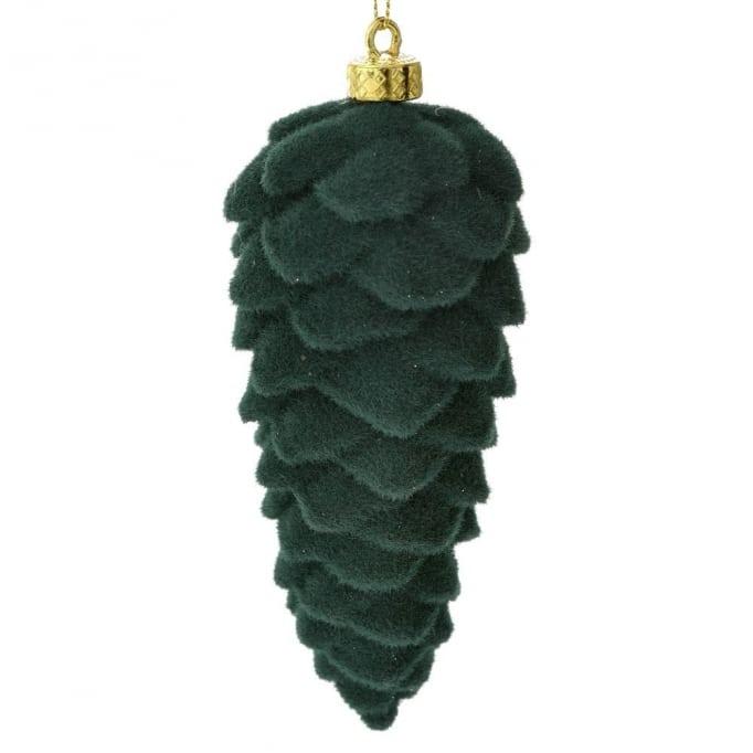 Βελούδινο κρεμαστό κουκουνάρι 15Χ6εκ πράσινο