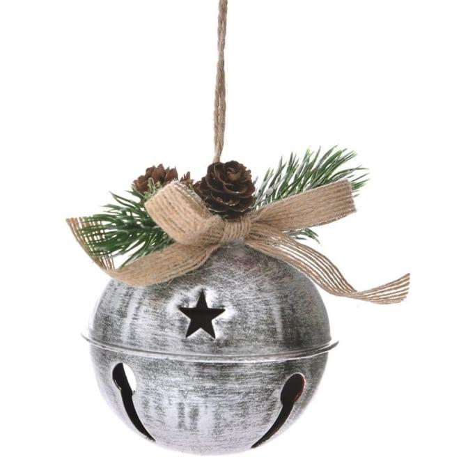 Μεταλλική μπάλα με κουδούνι ασημί