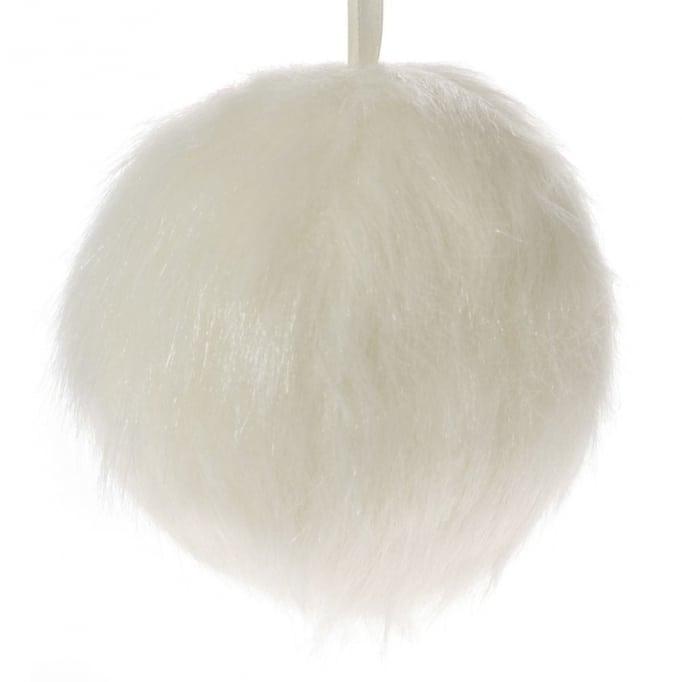Μπάλα γούνα λευκό 12εκ