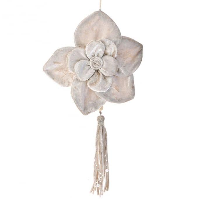 Κρεμαστό βελούδινο λουλούδι κρεμ