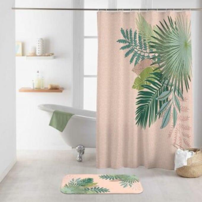 Κουρτίνα Μπάνιου Φύλλα 180x200εκ Ροζ