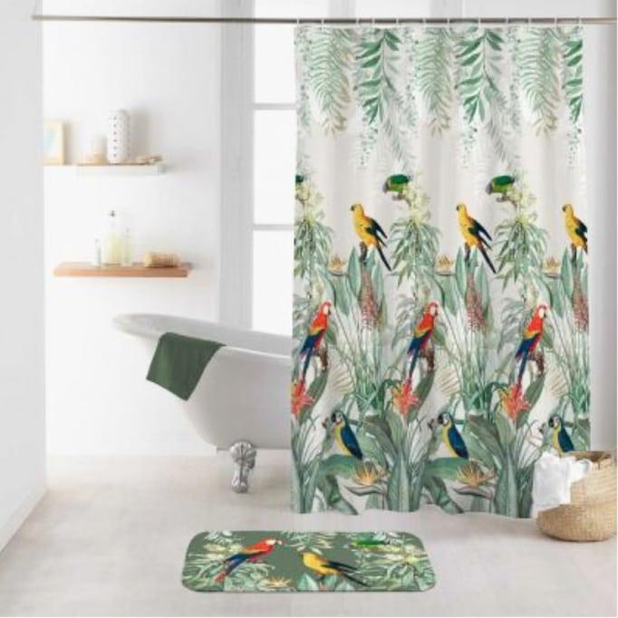 Κουρτίνα Μπάνιου Παπαγάλοι 180x200εκ Πολύχρωμο