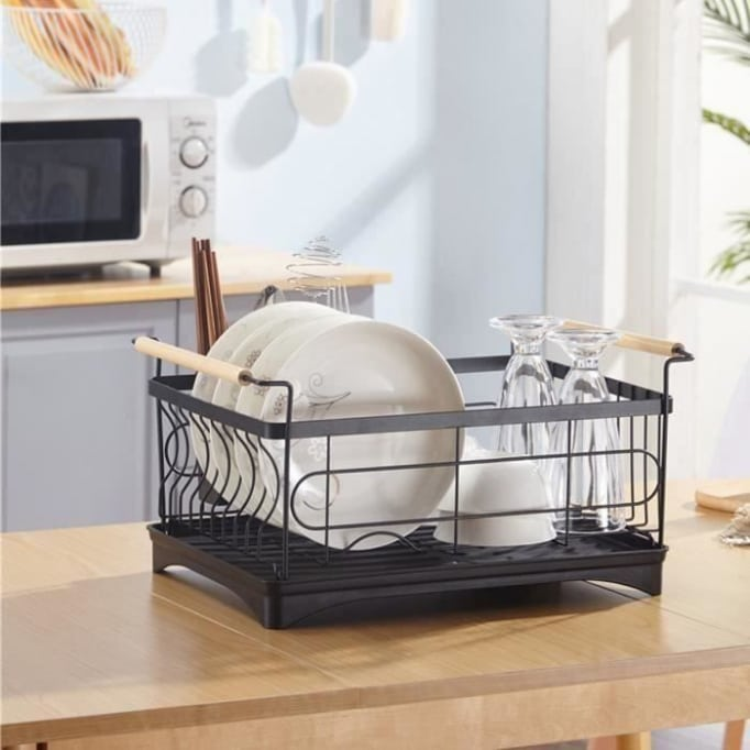 Πιατοθήκη-στεγνωτήριο πιάτων μεταλλικό μαύρο