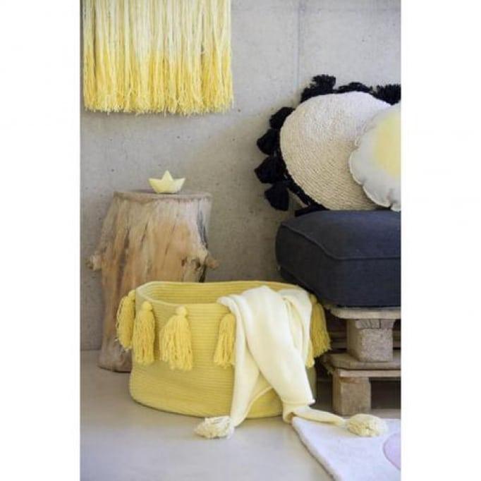 Lorena Canals Καλάθι αποθήκευσης με κρόσια απαλό κίτρινο