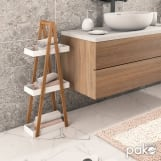 Επιδαπέδια ραφιέρα ξύλινη 3όροφη Nancy λευκό