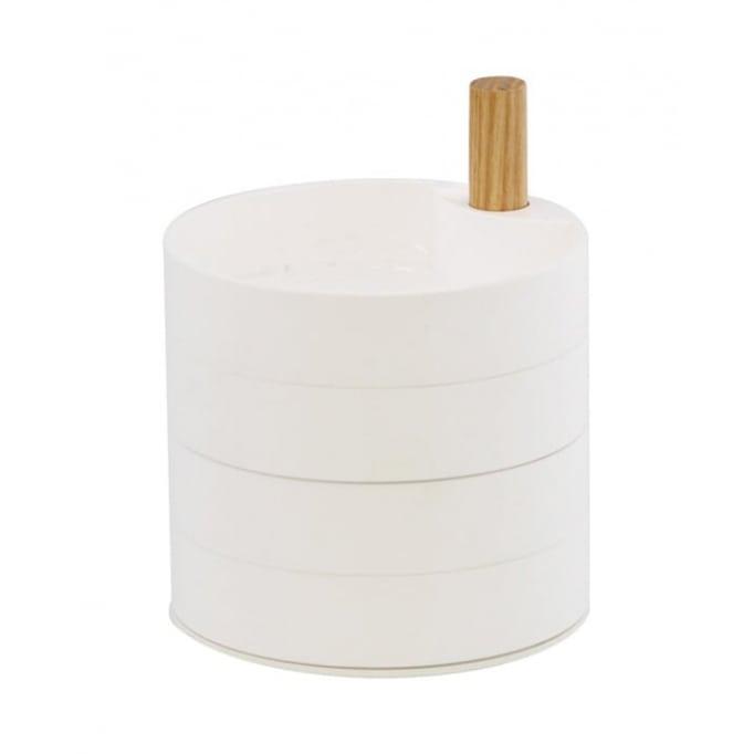 Κουτί αποθήκευσης κοσμημάτων 4 βαθμίδων λευκό