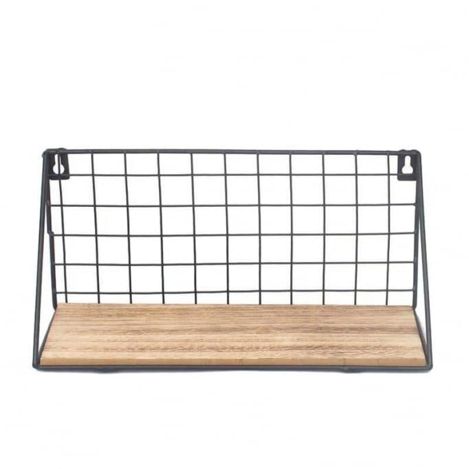 Ράφι από μέταλλο-ξύλο 45εκ Φυσικό Μαύρο