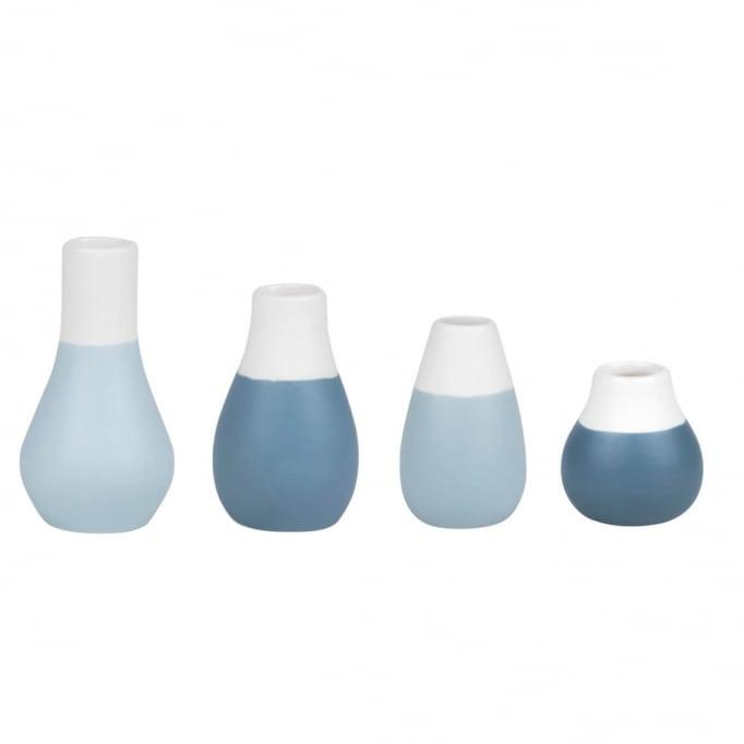 Βάζα Μίνι Πορσελάνης Raeder Pastels Blue Σετ 4Τμχ