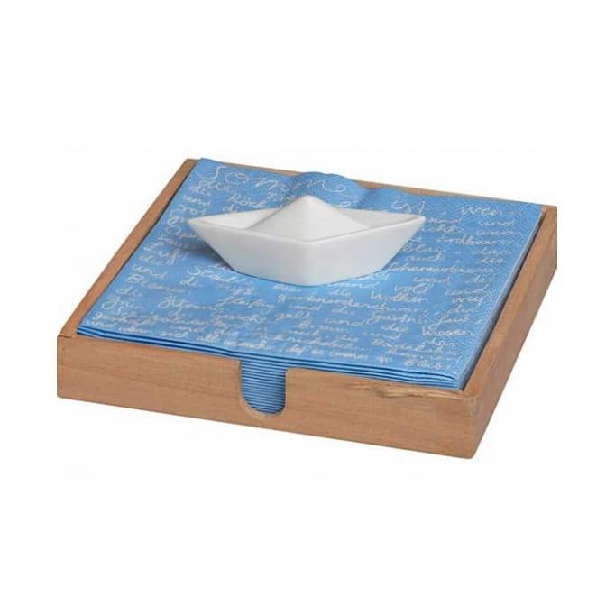 Ξύλινη θήκη για χαρτοπετσέτες καράβι