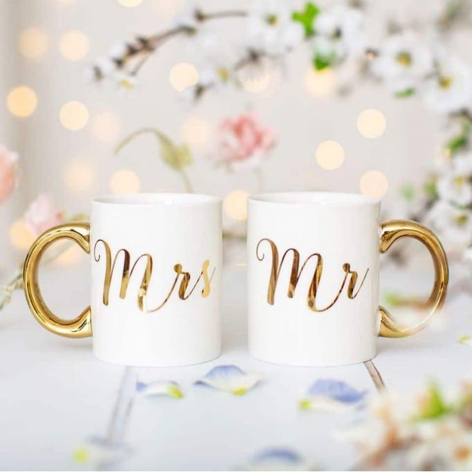 Κούπα Mrs&Mr χρυσό-λευκό