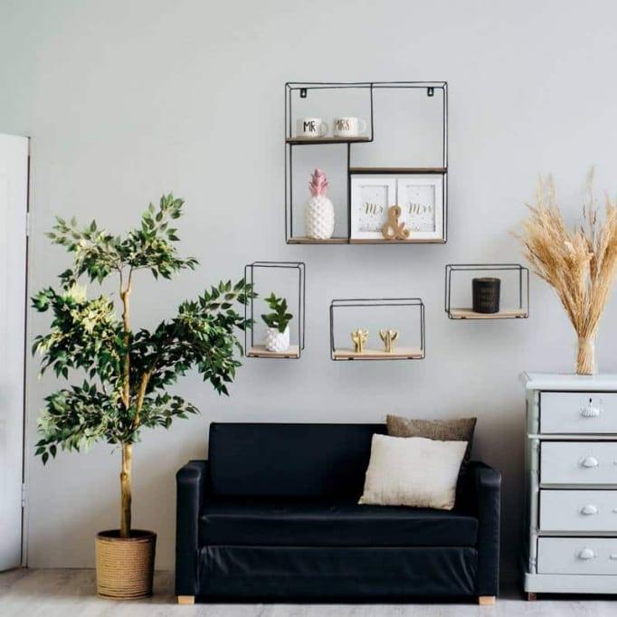Ράφια τοίχου σετ4 από μέταλλο και ξύλο
