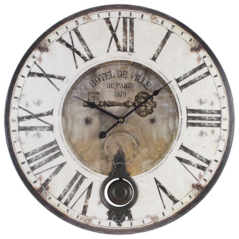 Ρολόι Τοίχου 3-20-773-0110 inart MDF Ιβουάρ/Καφέ 58x3x58cm