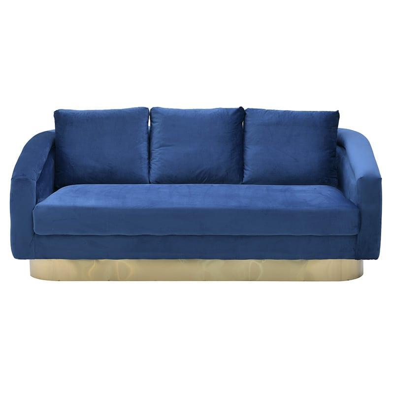 3θέσιος Καναπές 3-50-466-0089 inart Συνθετικό Μπλε 187x90x70cm