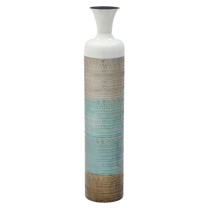Βάζο 3-70-447-0150 inart Μεταλλικό Χρύσο/Μπλε 20x20x97cm