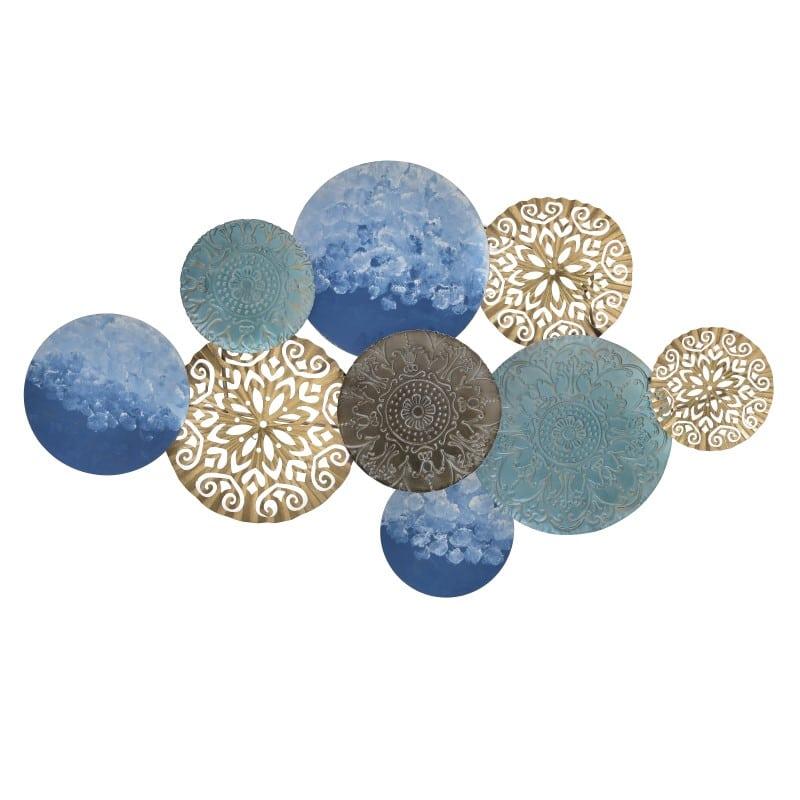 Διακοσμητικό Τοίχου 3-70-447-0168 inart Μεταλλικό Χρύσο/Μπλε 110x6x63cm