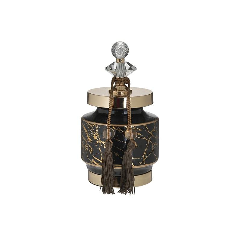 Δοχείο Με Καπάκι 3-70-743-0200 inart Μεταλλικό/Συνθετικό/Κεραμικό Χρύσο/Μαύρο 13x13x25cm